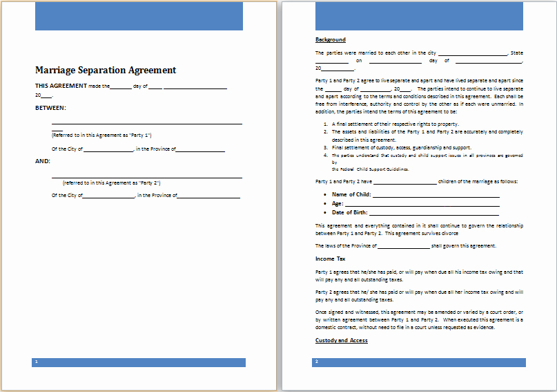 Separation Agreement Template Word Luxury Ms Word Marriage Separation Agreement Template