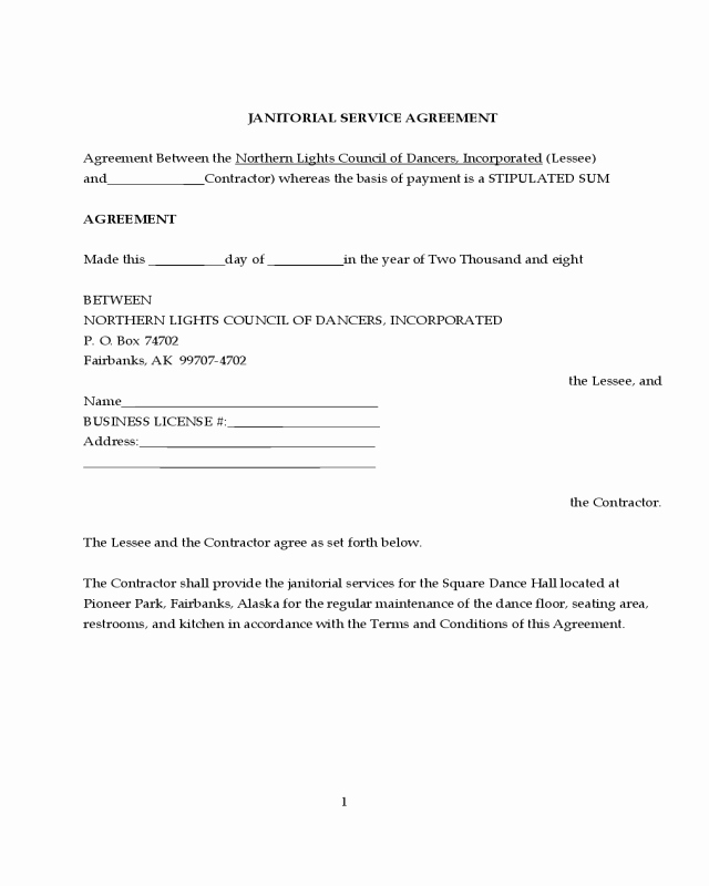 Service Agreement Template Pdf Awesome 2019 Janitorial Contract Template Fillable Printable