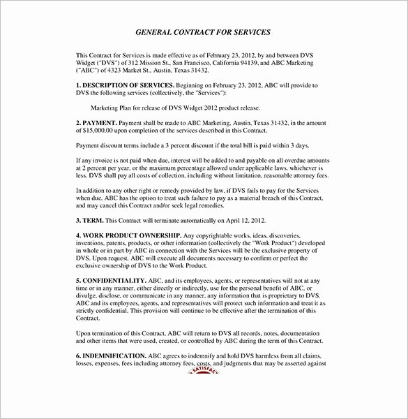 Service Agreement Template Pdf Beautiful Service Contract Templates – 14 Free Word Pdf Documents