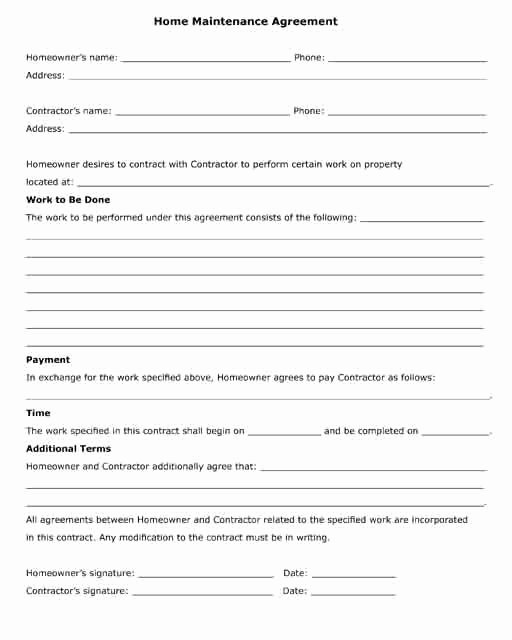 Service Agreement Template Pdf Fresh Home Maintenance Agreement Between A Contractor and A