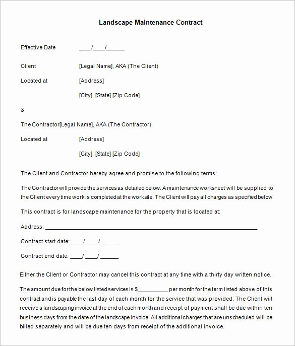 Service Agreement Template Pdf New 10 Maintenance Contract Templates – Free Word Pdf