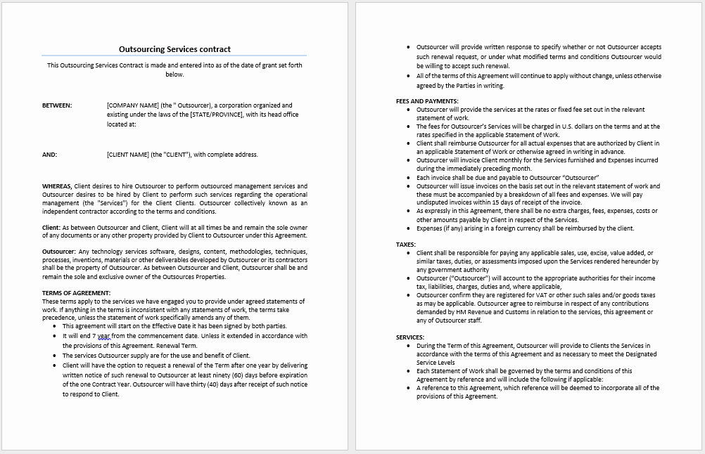 Service Agreement Template Word Awesome Outsourcing Services Contract Template Microsoft Word