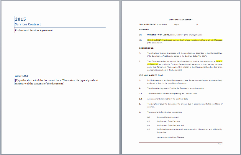 Service Agreement Template Word Beautiful Professional Services Contract Template – Word Templates