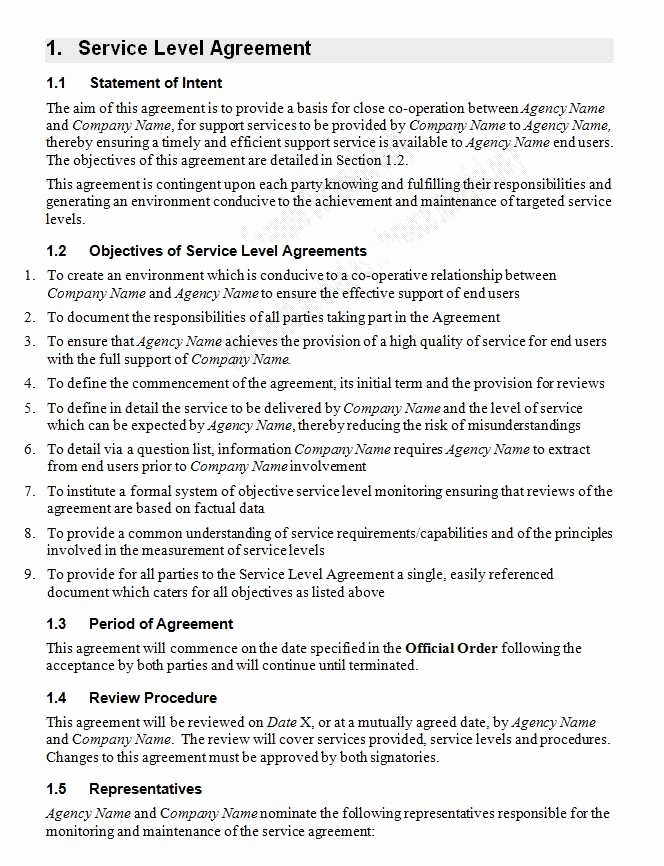 Service Agreement Template Word Elegant Service Level Agreement