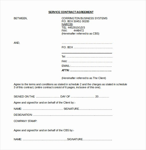 Service Agreement Template Word Fresh Blog