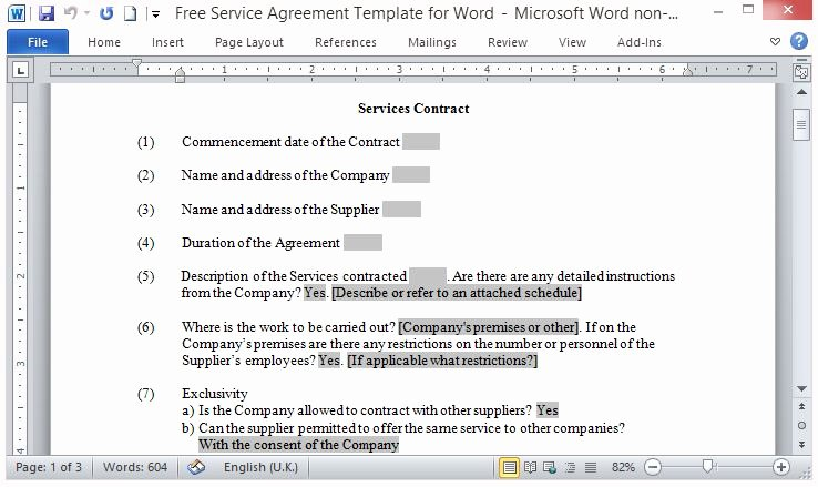 Service Agreement Template Word Inspirational Free Service Agreement Template for Word