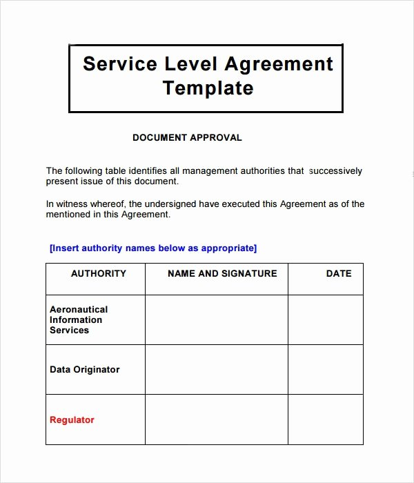 Service Agreement Template Word Inspirational Service Level Agreement Template