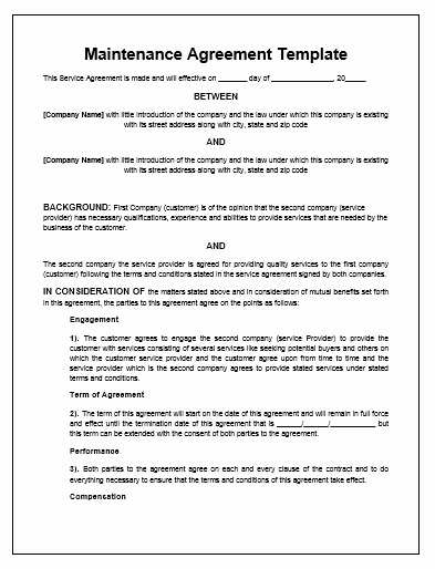 Service Agreement Template Word Lovely Maintenance Agreement Template Microsoft Word Templates