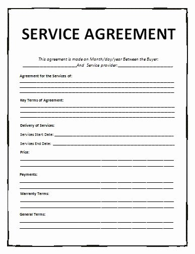 Service Agreement Template Word New Agreement Templates