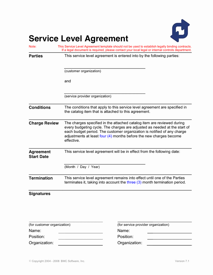 Service Agreement Template Word Unique Service Level Agreement Template In Word and Pdf formats