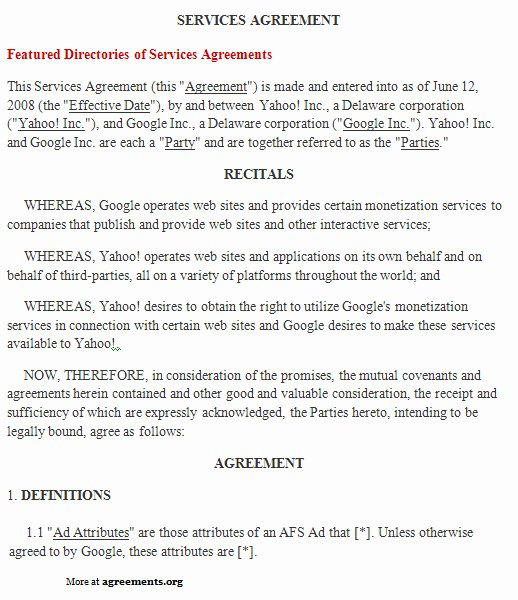 Service Agreement Template Word Unique Services Agreement Template Download Word & Pdf