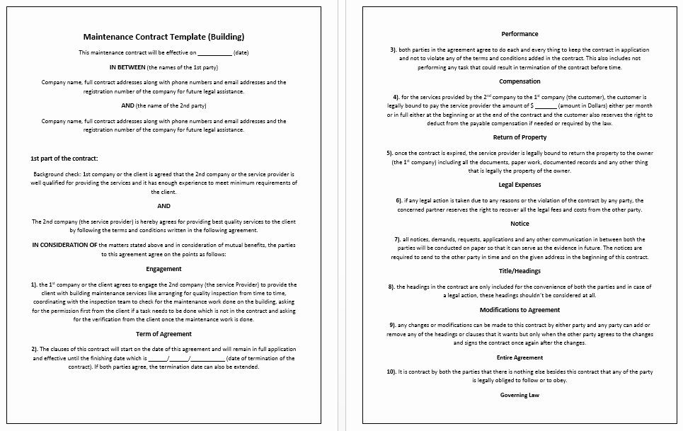 Service Contract Template Word Awesome Construction Service Agreement Template Simple Business