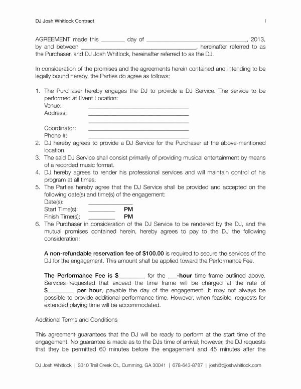 Service Contract Template Word Beautiful 12 Dj Service Contract Template Pdf Word