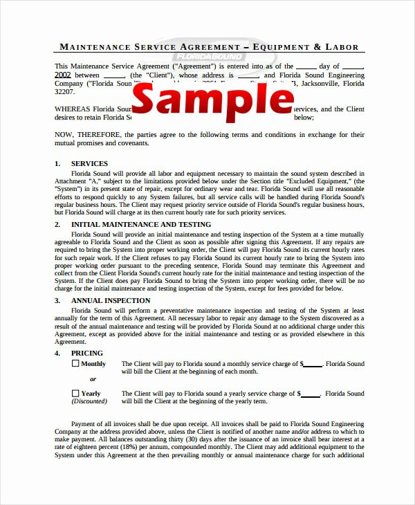 Service Contract Template Word Beautiful 21 Simple Service Agreements Word Pdf
