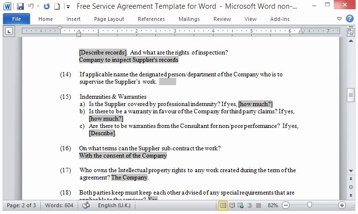 Service Contract Template Word Unique Well Written and Detailed Contract Fppt