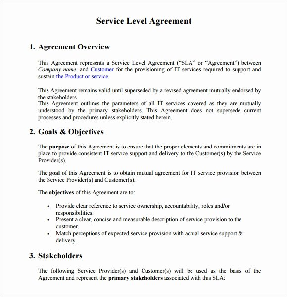 Service Level Agreement Template Awesome 18 Service Level Agreement Samples Word Pdf