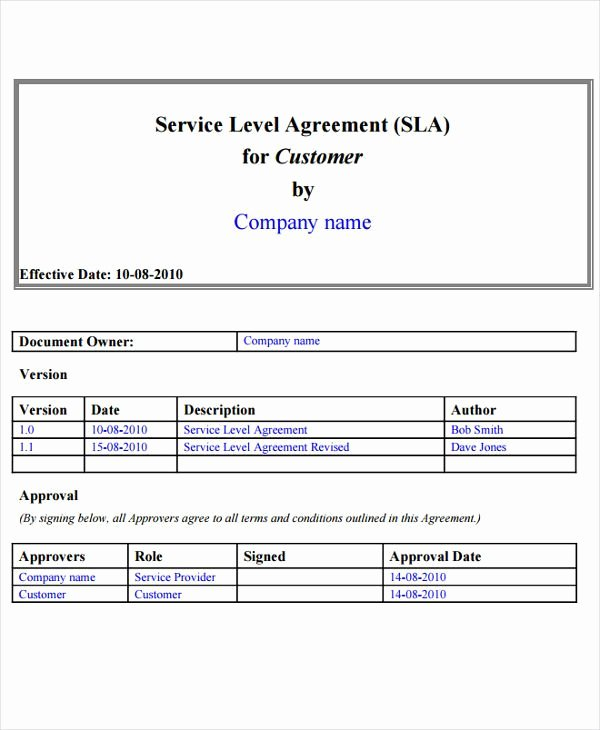 Service Level Agreement Template Awesome 9 Service Level Agreement Templates Free Word Pdf