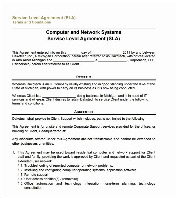 Service Level Agreement Template Elegant 18 Service Level Agreement Samples Word Pdf