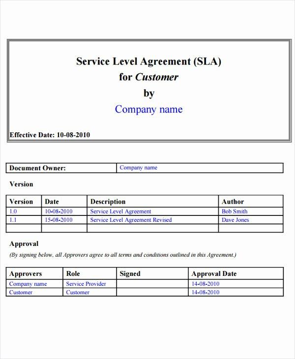 Service Level Agreement Template Elegant Sla Samples