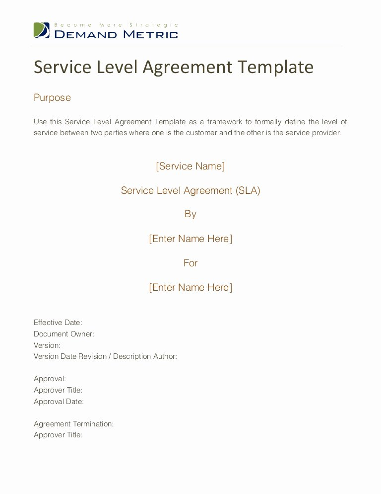 Service Level Agreement Template Fresh Service Level Agreement Template