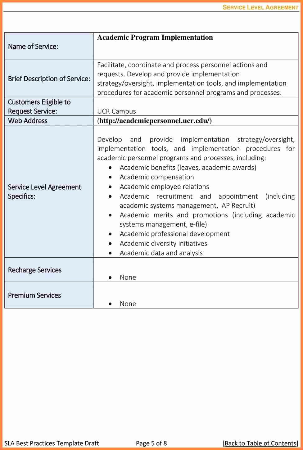 Service Level Agreement Template Inspirational 8 Training Service Level Agreement Template