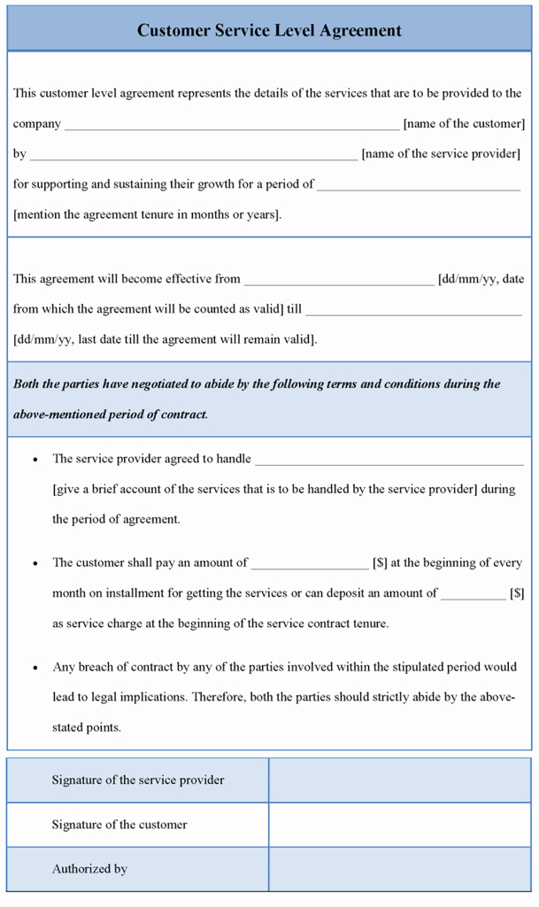 Service Level Agreement Template Inspirational Service Level Agreement Template