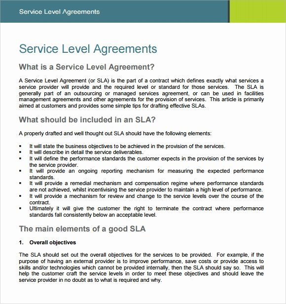 Service Level Agreement Template Luxury 18 Service Level Agreement Samples Word Pdf