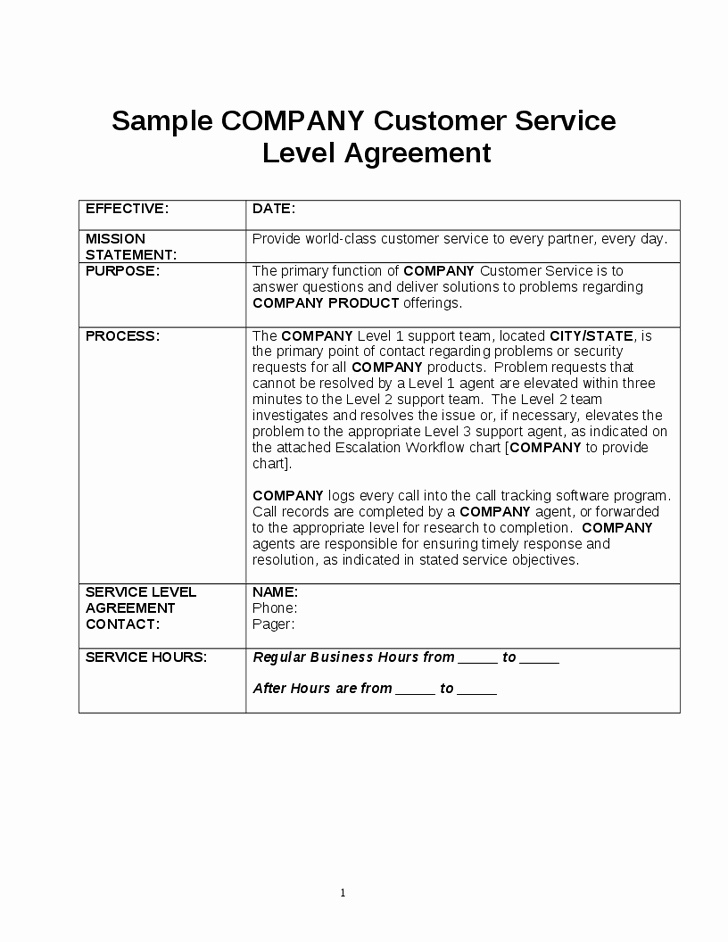 Service Level Agreement Template Luxury Writing Service Level Agreement Template Service Level