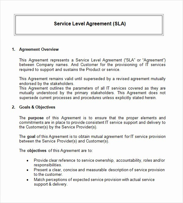 Service Level Agreement Template Unique Free 17 Sample Service Level Agreement Templates In Pdf