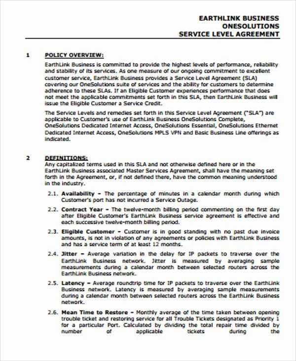 Service Level Agreement Template Unique Sample Business Service Level Agreement 8 Examples In