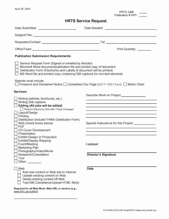 Service Request form Template New Service Request form Templates Word 369