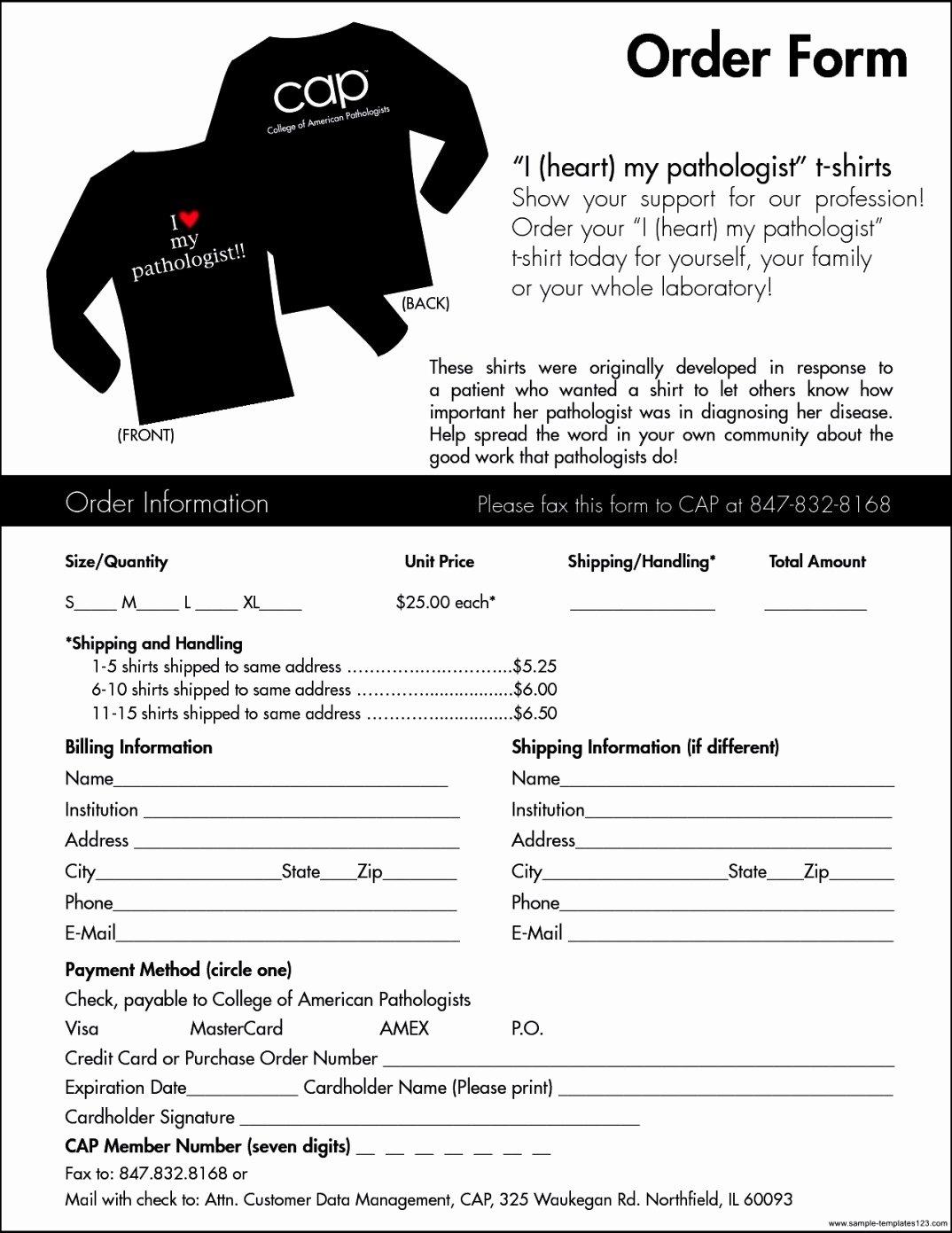Shirt order form Template Beautiful T Shirt order form Template