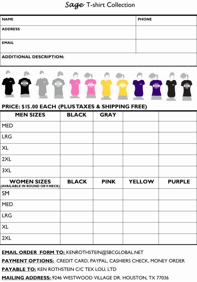Shirt order form Template Lovely Printable T Shirt order forms Templates Excel Template
