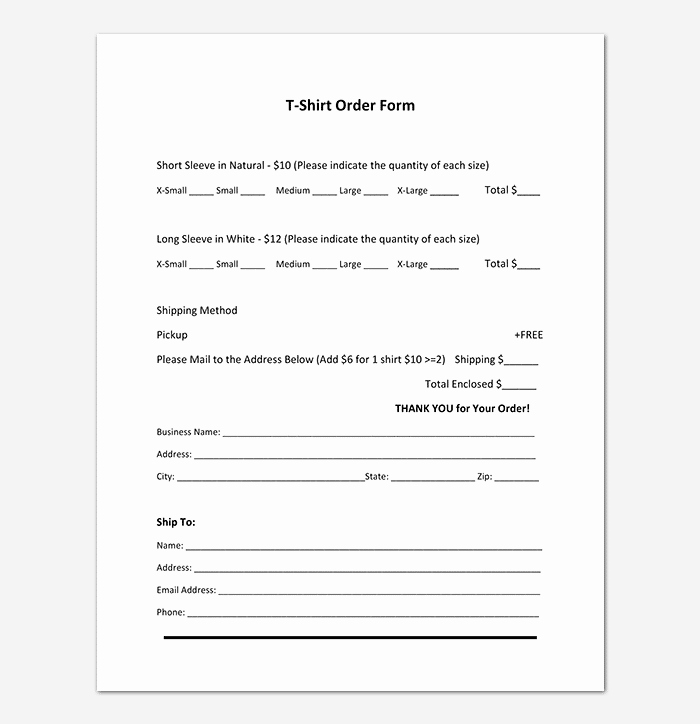 Shirt order form Template Luxury T Shirt order form Template 17 Word Excel Pdf