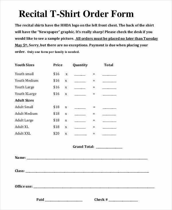 Shirt order form Template Luxury T Shirt order form Template