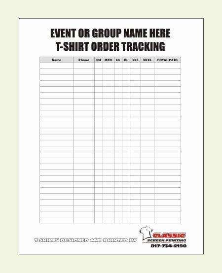 Shirt order form Template New Blank T Shirt order form Template