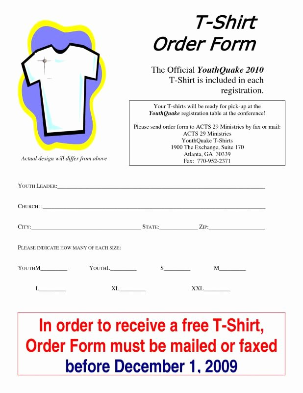 Shirt order form Template New T Shirt order form Template Microsoft Word