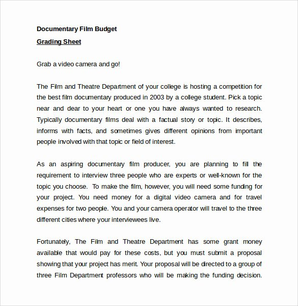 Short Film Budget Template Awesome Sample Bud 8 Documents In Pdf Word