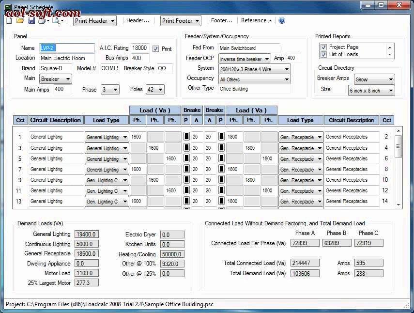 Siemens Panel Schedule Template Best Of Loadcalc 2008 Panel Schedule Trial Screenshot Business