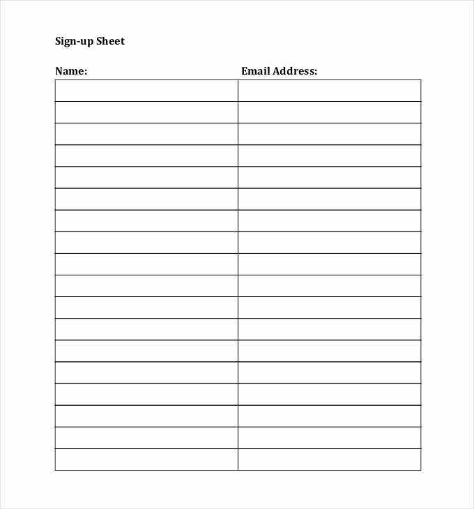 Sign In Sheet Template Doc New Email Signup Sheet Template
