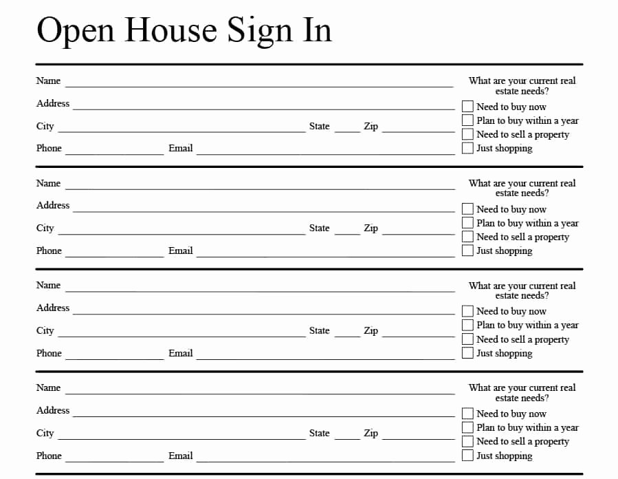 Sign In Sheet Template Doc Unique 4 Free Real Estate Open House Sign In Sheet Templates [ Tips]