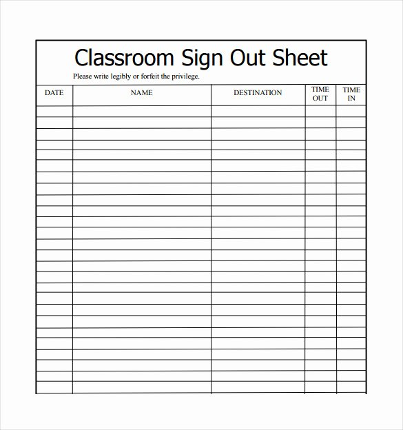 Sign Out Sheet Template Excel Best Of 19 Sign Out Sheet Templates Free Sample Example