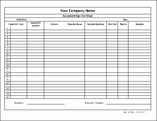 Sign Out Sheet Template Excel Elegant Free Personalized Equipment Sign Out Sheet Numbered From