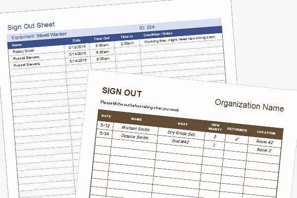 Sign Out Sheet Template Excel Inspirational Equipment Sign Out Sheet