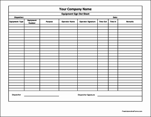 Sign Out Sheet Template Excel Luxury 10 Best S Of Puter Equipment Sign Out form
