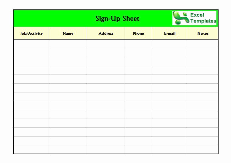 Sign Up Sheet Template Awesome Free Sign In Sign Up Sheet Templates Excel Word