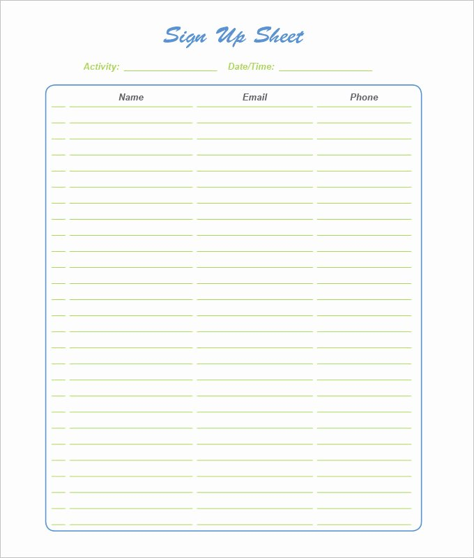 Sign Up Sheet Template New Sign Up Sheets 58 Free Word Excel Pdf Documents