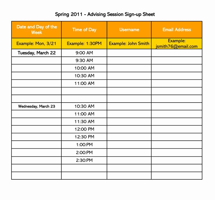 Sign Up Template Free Awesome 26 Free Sign Up Sheet Templates Excel & Word