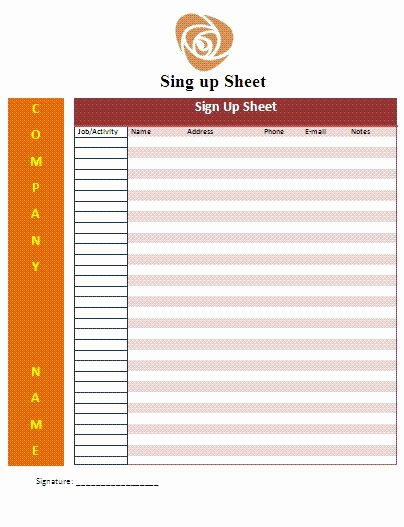 Sign Up Template Free Fresh Cute Sign Up Sheet Templates Google Search