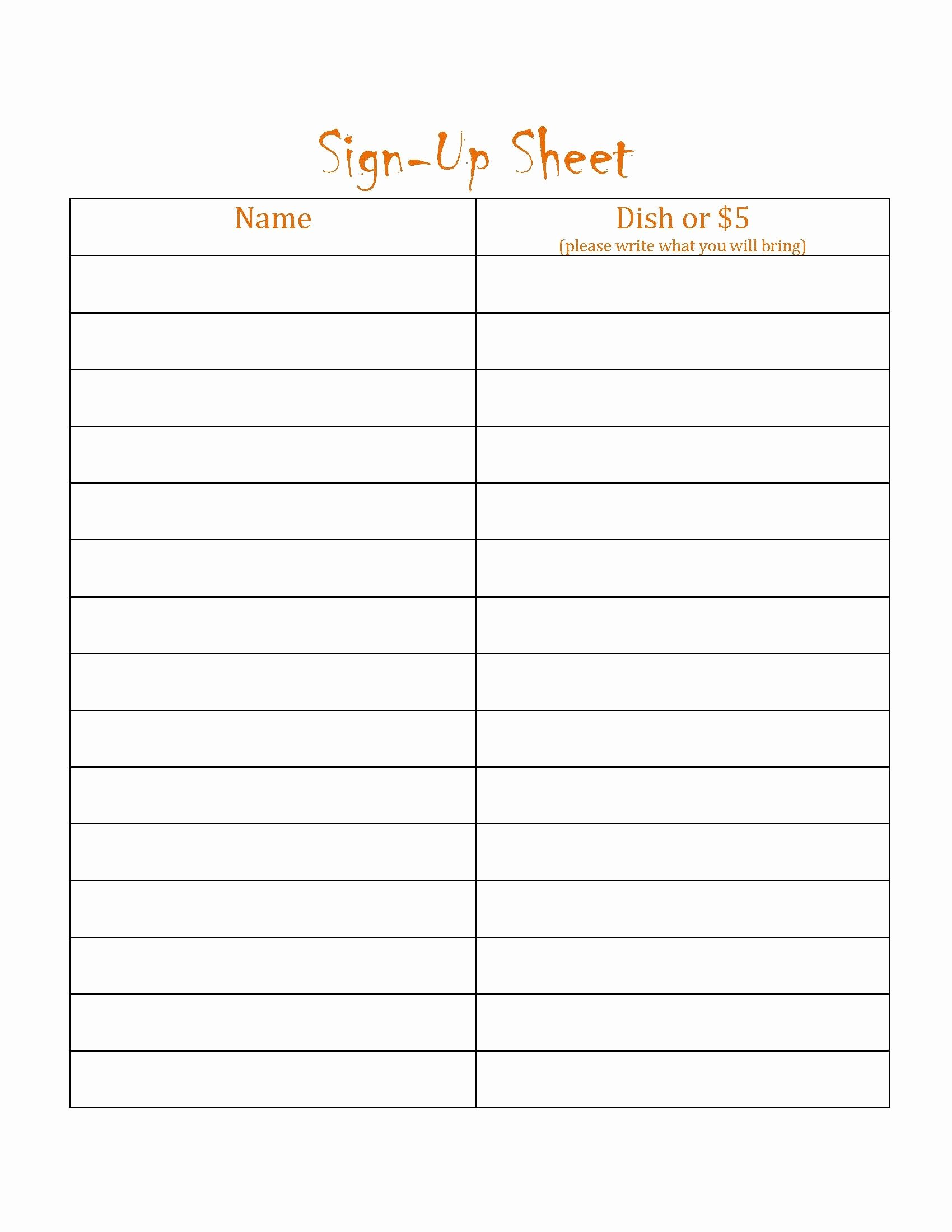Sign Up Template Free Inspirational Blanks Potluck Signs Up Sheets Free